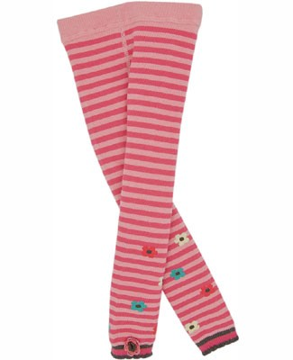Le Top *Cute Cookie* Pink Striped Footless Tights w/ Crochet Flower