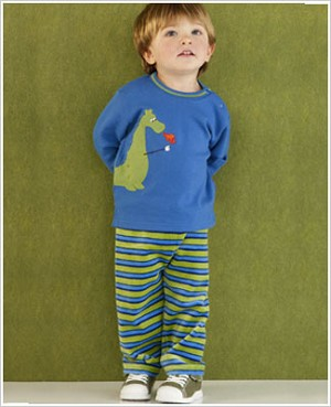 Le Top *Daring Dragons* Blue L/S Shirt & Blue/Green Striped Velour Pant Set