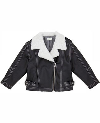 Le Top *Vroom!* Charcoal Faux Leather Motorcycle Jacket