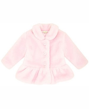 Le Top Pink Faux Fur Jacket w/ Gathered Hem Panel