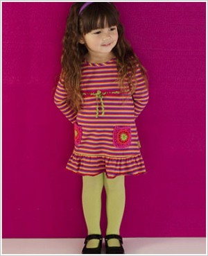 Le Top *Pizzazz* Hot Pink Multi Striped L/S Dress w/ Crochet Pockets