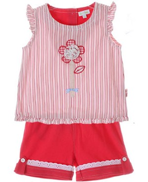 Le Top *Wildflower* Pink/White Stripe Sleeveless Top & Fuchsia Short Set