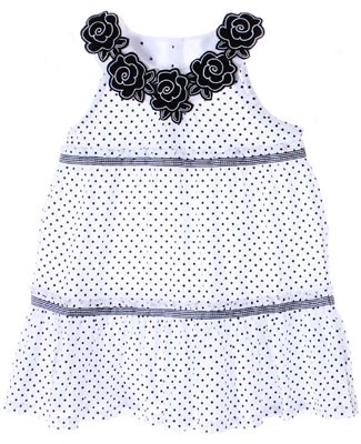 Little Maven White w/ Black Dots Sleeveless Tiered Dress