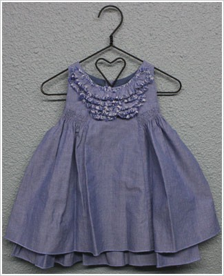 Little Maven Denim Colored Sleeveless Chambray Dress w/ Chest Ruffles