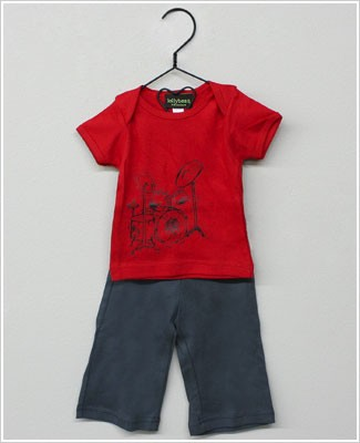 Lollybean Red/Grey Rock n Roll S/S Shirt & Pant Set