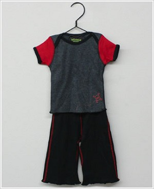 Lollybean Grey/Black/Red Pirate S/S Shirt & Pant Set