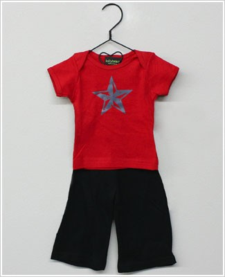 Lollybean Red/Black Rock Star Top and Pant Set