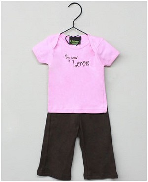 Lollybean Pink/Brown XOXO S/S Shirt & Pant Set