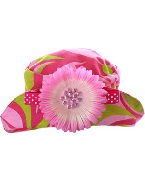 Mack & Co Pink/Lime Poochie Swirl Hat w/ Daisy
