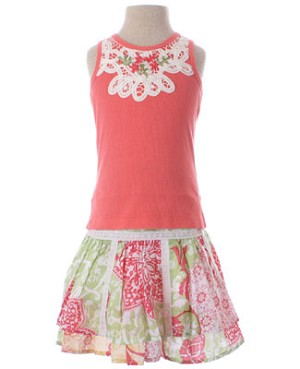 Mimi & Maggie Tapestry Skirt And Coral Tank