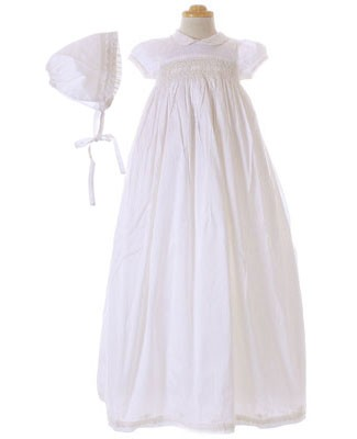 Magnolia Baby White Silk Christening Gown & Bonnet Set