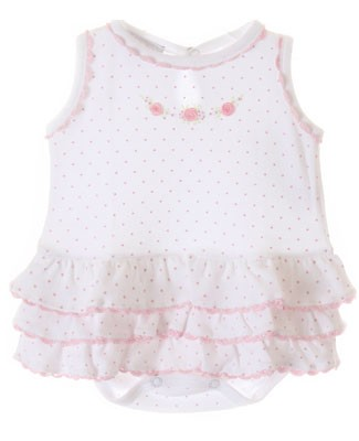 Magnolia Baby Fiona's Classics White w/ Pink Dots Ruffle Layered Skirted Bodysuit