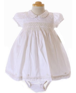 Magnolia Baby White Silk Occasion Bianca Dress w/ Diaper Cover