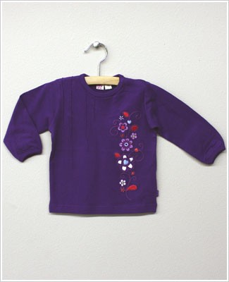 X: Me Too Purple L/S Shirt w/ Embroidered Flowers