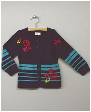 X: Me Too Amethyst/Turquoise Knit Cardigan w/ Embroidered Flowers