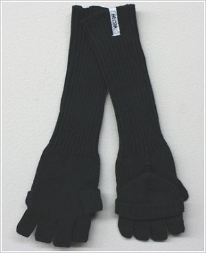 Me Too *Melton* Black Convertable Long Mitten/Gloves