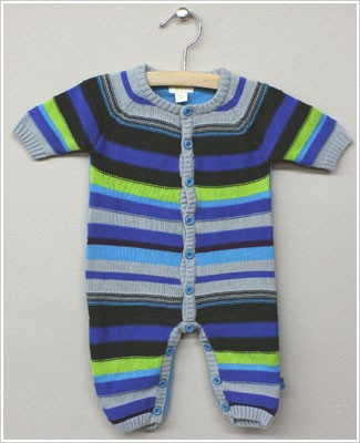 x: Me Too Boys Multi Striped Knitted Button Front Romper