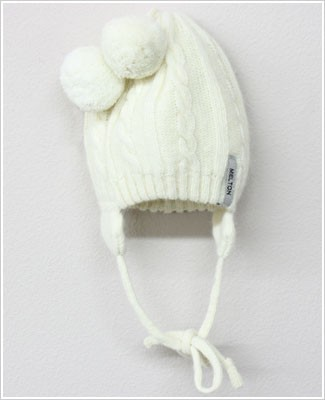 Me Too *Melton* Cream Wool Cable Knit Hat w/ Ear Flaps & Puff Ball Tassles