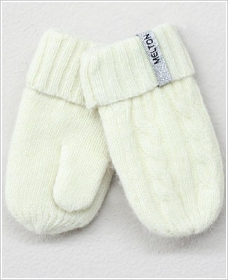 Me Too *Melton* Cream Cable Knit Wool Mittens