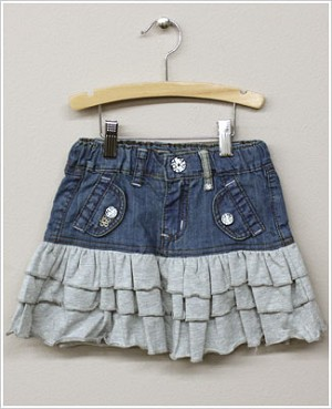 x: Me Too Denim Skirt w/ Grey Ruffle Layers