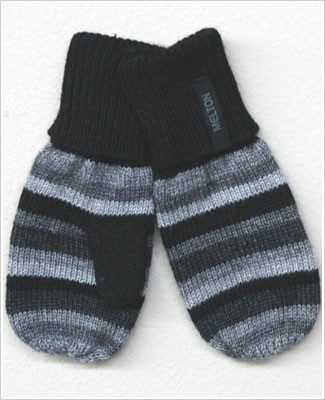 Me Too *Melton* Grey/Black Striped Wool Mittens
