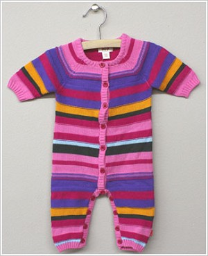 x: Me Too Girls Multi Striped Knitted Button Front Romper