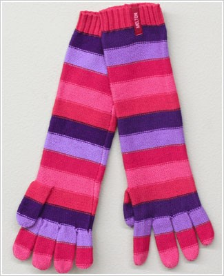Me Too *Melton* Pink/Purple Multi Striped Long Gloves