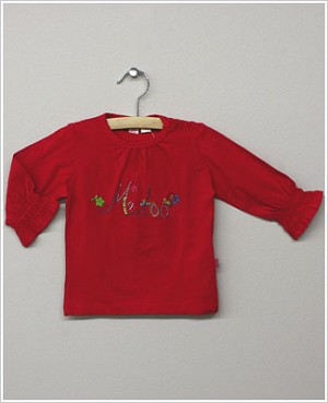 X: Me Too Red L/S Gathered Cuff Shirt w/ Ebroidery and Beading