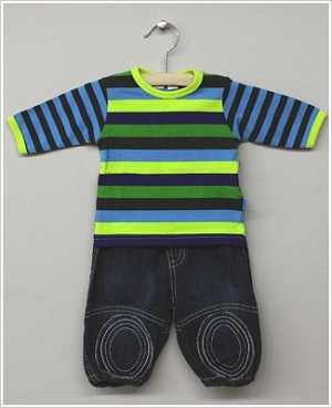 X: Me Too Boys Lime/Multi Striped L/S Shirt & Denim Pant Set *DARLING!*