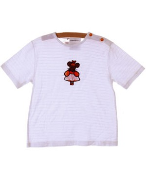 5y Miss Petit Boy White Ribbed Mouse S/S Tee