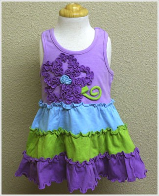 Mulberribush Lavender/Blue/Lime Racer Back Tiered Ruffle Dress