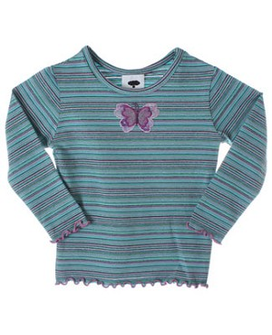 Mulberribush Green Stripe Butterfly Embellished Top