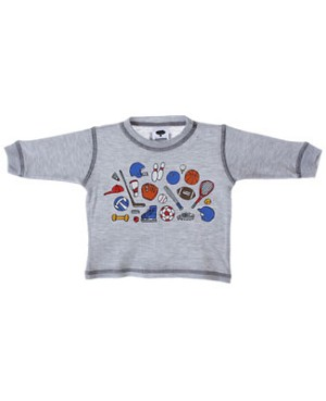 Mulberribush Grey Sports Doodles Thermal L/S Tee