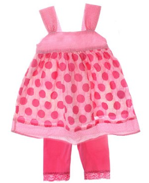 Mulberribush Fuchsia Dotted Tank Dress & Lace Capri Legging Set