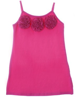 Mulberribush Dark Pink Tank Dress w/ Ruffle Roses