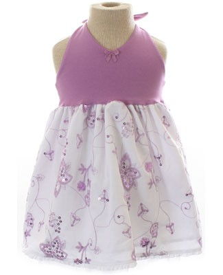 Mulberribush Lavender/White Halter Dress w/ Embroidery and Sequins