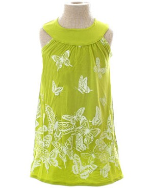 Mulberribush Lime Yoke Collar Butterfly Dress