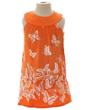 Mulberribush Orange Yoke Collar Butterfly Dress