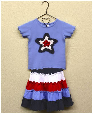Mulberribush 2pc Periwinkle Ruffle Star Tee and Tiered Red/White/Blue Skirt Set