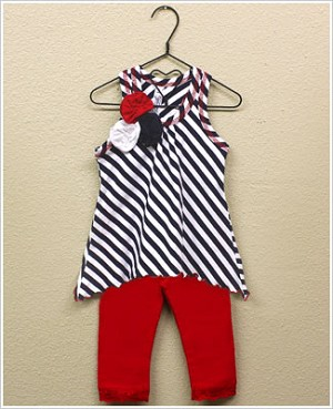 Mulberribush 2pc Navy/White Striped Pointed Hem Tunic Top and Red Legging Set