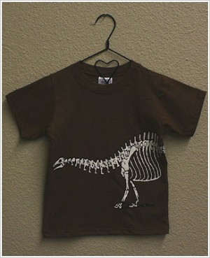 Mulberribush S/S Brown Dinosaur Skeleton Tee