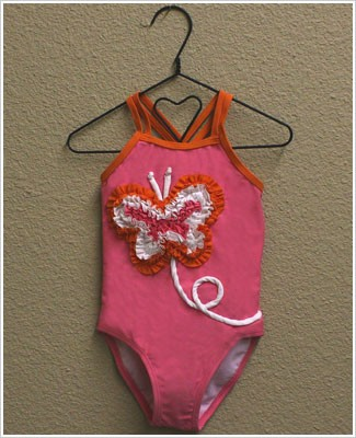 Mulberribush Salmon Pink and Orange 1pc Swimsuit with Ruffle Butterfly