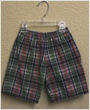 Mulberribush Navy/Green Plaid Side Pocket Shorts