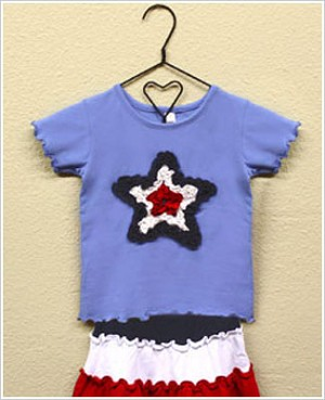 Mulberribush Periwinkle Ruffle Red/White/Navy Star Tee