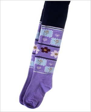 Nowali Navy Tights w/ Purple Patchwork
