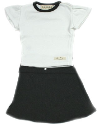 9m-18m : Ooh Baby Sporty Yoga White T-Shirt & Skirt Set