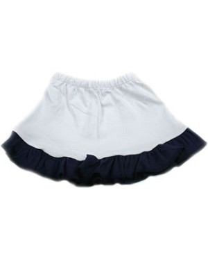 : Ooh Baby White Skirt with Navy Ruffle