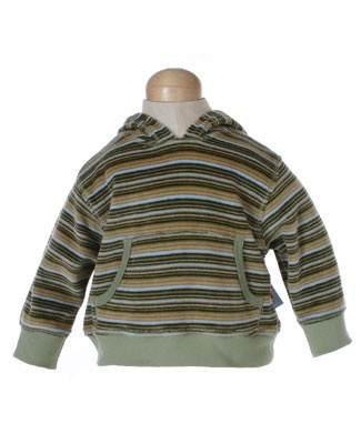 II: Pepper Toes Zebra Life Olive Velour Striped Hooded Pullover