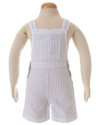 II: Petit Bateau White Striped Short Overall