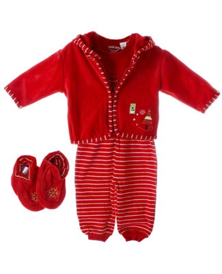 Petit Lem Red Holiday Stripe Velour Hooded Jacket, S/S Bodysuit, Pants And Velour Booties 4pc Set